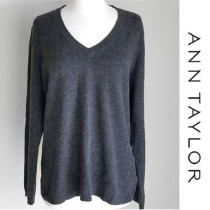 Ann Taylor Cashmere Gray V-Neck Sweater